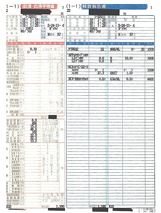 笹野富美夫血液検査(20070124-1):肝臓がん末期闘病記