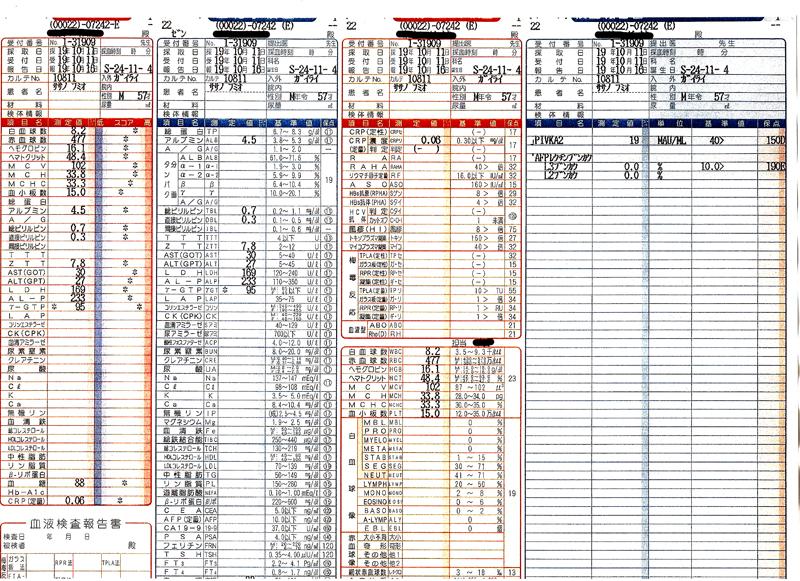 笹野富美夫血液検査(20071011):肝臓がん末期闘病記