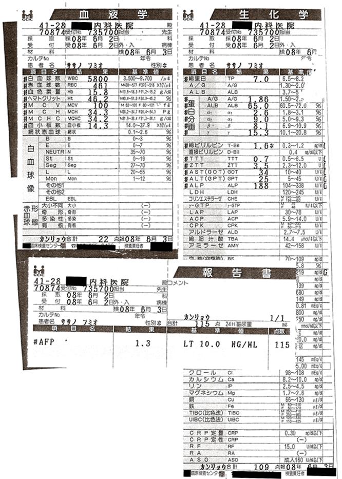 笹野富美夫血液検査(20080602):肝臓がん末期闘病記