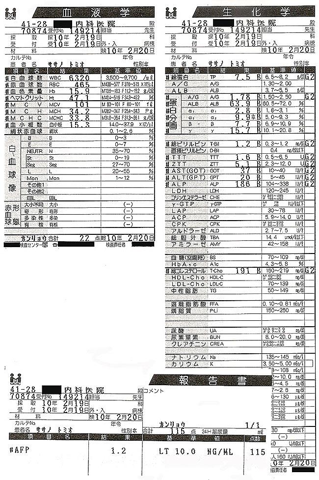 笹野富美夫血液検査(20100219):肝臓がん末期闘病記