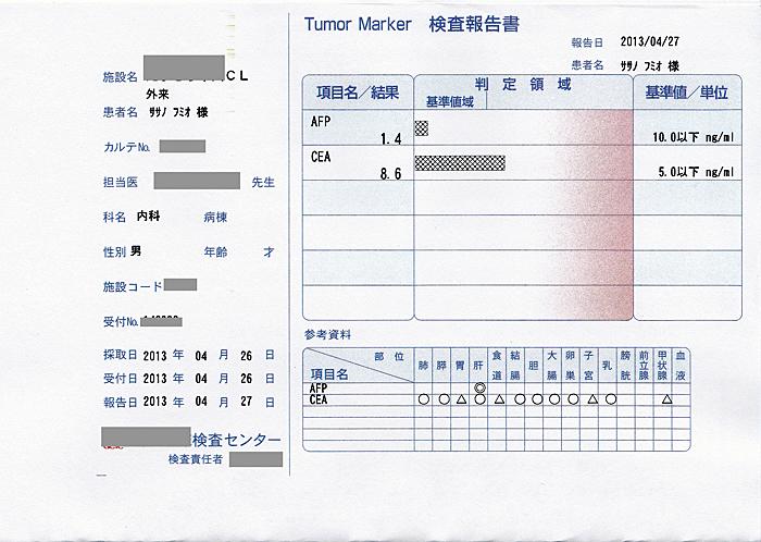 笹野富美夫血液検査(20130426-3):肝臓がん末期闘病記