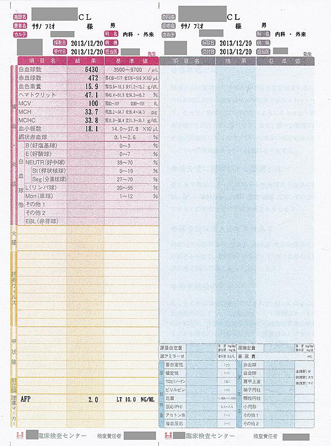 笹野富美夫血液検査(20131220-2):肝臓がん末期闘病記