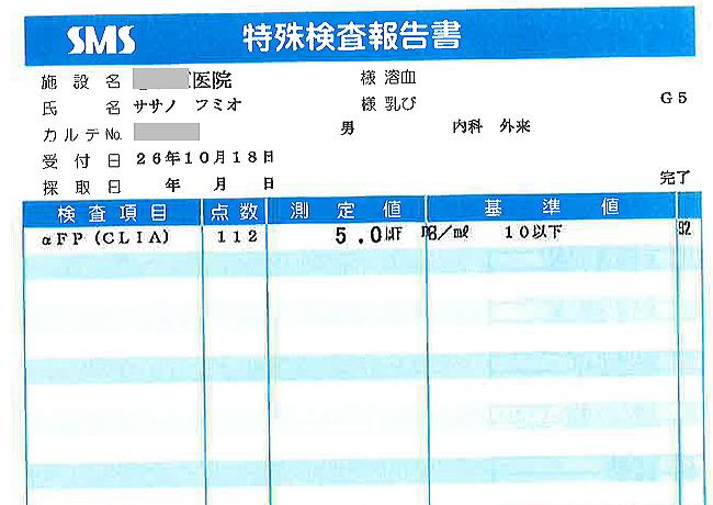 笹野富美夫血液検査(20141018-2):肝臓がん末期闘病記