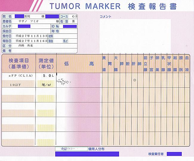 笹野富美夫血液検査(20151113-2):肝臓がん末期闘病記