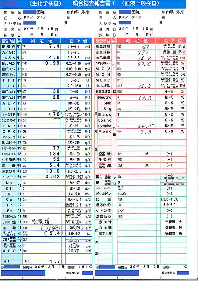 笹野富美夫血液検査(20170301-1):肝臓がん末期闘病記